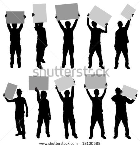 Image Result For Holding Picket Sign Vector Free Silhouette Vector Card Sketches