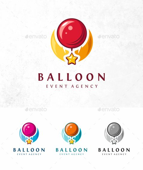 Event Balloon Logo LOGO SPECIFICATIONS: Full vectors. Editable and scalable. Editable colors / text #Event, #Balloon, #Logo
