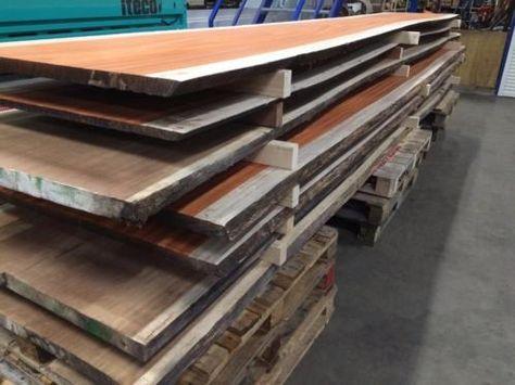 Tafelblad Hout Tweedehands.Tafel Tafelblad Van Boomstam Planken Iroko En Padoek