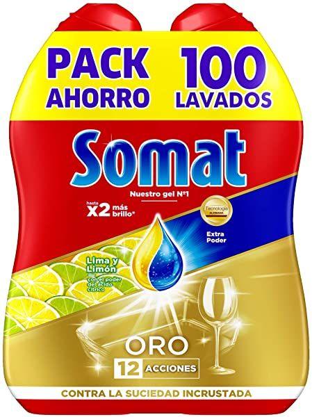 Chollo Pack De 2 Lavavajillas Somat Oro Gel Anti Grasa Para 100 Lavados Por 8 07 Euros Lavavajillas Lava Grasa