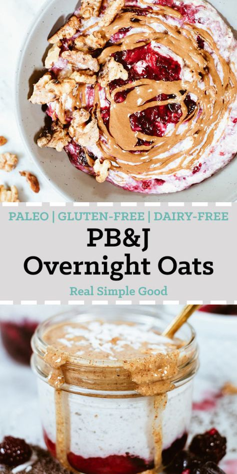 """And Jelly Healthy Overnight Oats (Paleo + Dairy-Free) These """"PB"""" and jelly healthy overnight oats are actually Paleo, grain-free, dairy-free and refined sugar-free. They lack nothing in flavor and texture though! And they're super easy to throw together! Paleo Oats, Paleo Dairy, Paleo Oatmeal, Paleo Vegan, Vegetarian, Dairy Free Overnight Oats, Overnight Oatmeal, Healthy Overnight Oats, Blueberry Overnight Oats"""