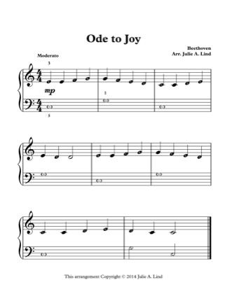 Thumbnail Of First Page Of Ode To Joy Lvl 1 Piano Sheet Music