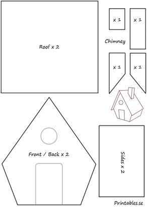 Template for gingerbread house 1 (free printable) Cardboard Gingerbread House, Gingerbread House Patterns, Christmas Gingerbread House, Gingerbread Cookies, Christmas Crafts, Gingerbread Houses, Gingerbread Recipe For House, Cardboard Box Houses, Xmas
