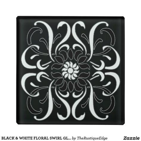 Black White Fl Swirl Gl Coaster