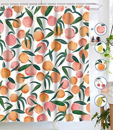 Lifeel Peach Shower Curtains Allover Fruits Shower Curtain Cute