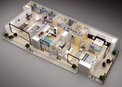 50 denah rumah minimalis 3d (3 kamar tidur, 2 lantai, dan