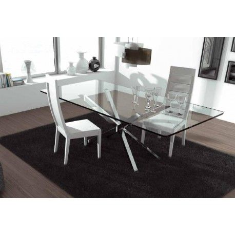 Trapeze Polished Steel Dining Table With Glass Top Dining Tables