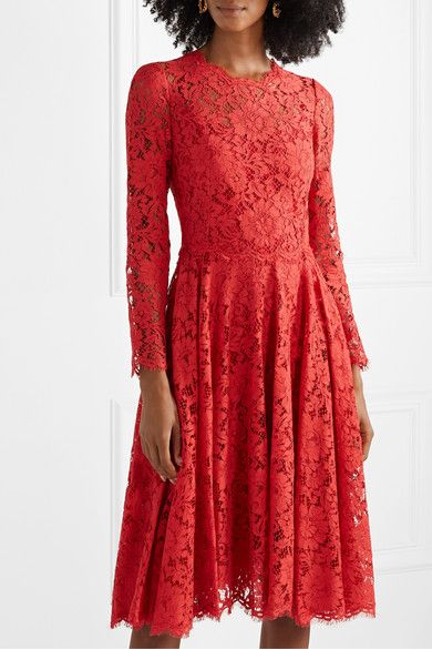 Red Corded Lace Dress Dolce Gabbana Corded Lace Dress Lace Dress Long Sleeve Lace Dress Formal