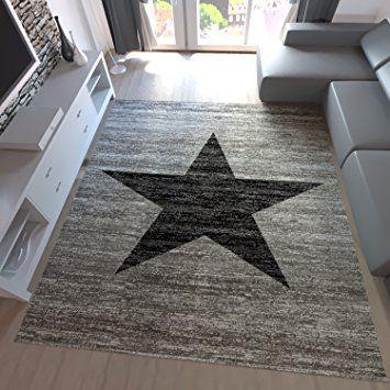 Jugend Teppich Wohnzimmer Stern Muster Meliert Rot Schwarz, Beige - Teppich Wohnzimmer Braun