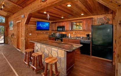 Gatlinburg Cabin Rentals In The Smoky Mountains Log Home Kitchens Log Cabin Rustic Barn Kitchen