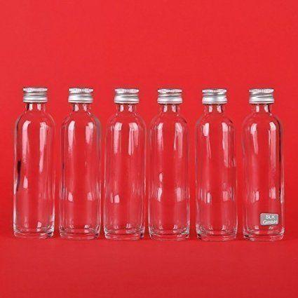 SLK GmbH, 40 Bottiglie Vuote in Vetro 40 ml Brocca Mini Bottiglia Vetro con Tappo da Riempire Liquore, Olio, Aceto, Altezza 11,7 cm