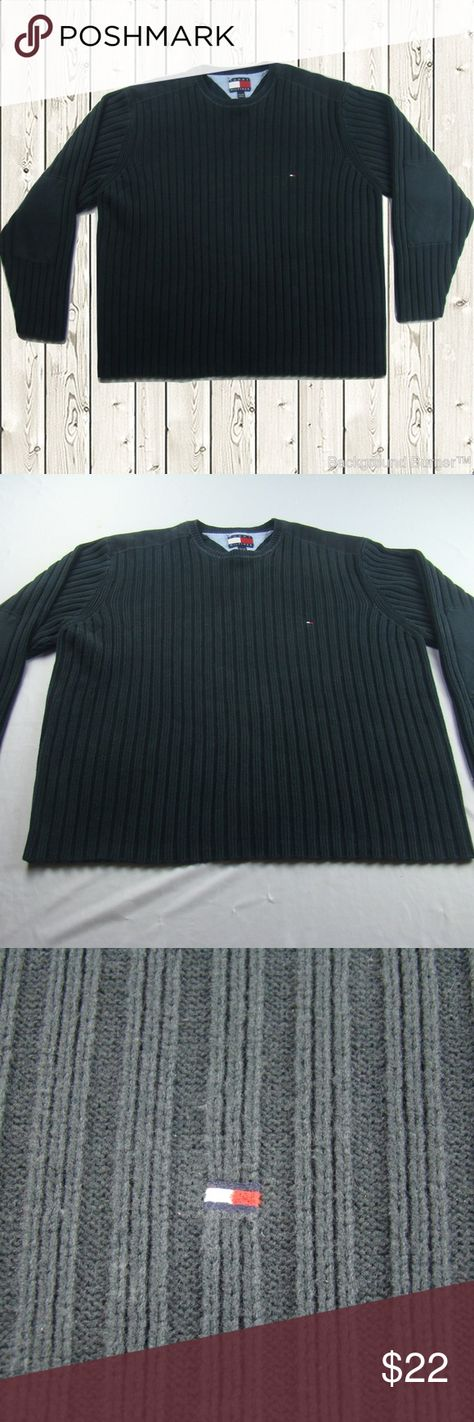 """Tommy Hilfiger Sweater Mens XXL 2XL Vintage Great condition Mens Sweater by Tommy Hilfiger , nice heavy sweater with elbow patches, vintage in great condition.  More details  Size XXL Color: Dark Charcoal Elbow Patches Small Flag logo  Measured flat across front Chest: 26"""" Length: 28""""  INV ID KK-19 Tommy Hilfiger Sweaters Crewneck"""
