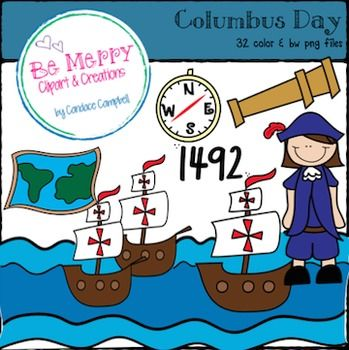 Here Is A Set For All Of Your Columbus Day Needs It Includes Color And Black And White Images The 32 Images Include Columbus Day Clipart Clip Art White Image