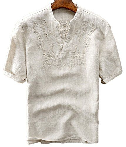YYear Mens Buttons Vintage Long Sleeve V Neck Linen Shirts