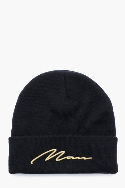MAN Gold 3D Embroidery Beanie | AW19/20 | Beanie, Mens caps