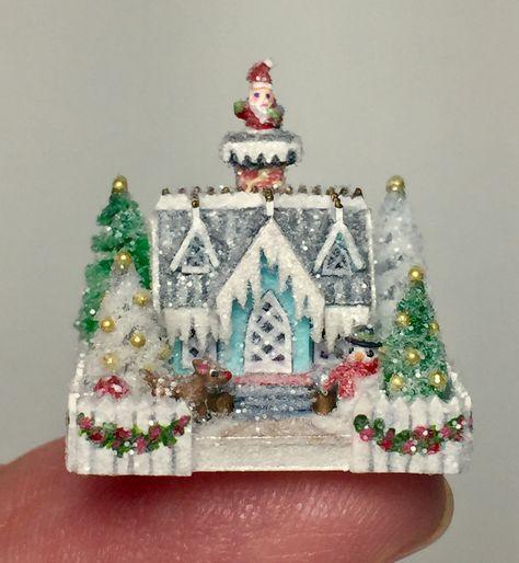 Idea By Drew Courtney On Christmas Dollhouse Christmas Miniature Christmas Glitter Houses
