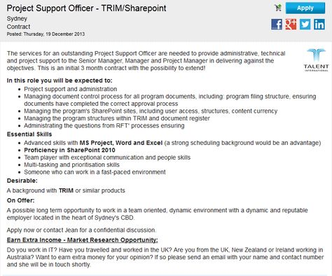 Are you a Project Support Officer - TRIM Sharepoint looking for - project support officer sample resume