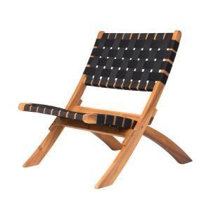 Patio Sense Sava Foldable Wood Outdoor Natural Black Web Lounge Chair 62774 The Home Depot Lounge Chair Outdoor Outdoor Folding Chairs Wooden Lounge Chair