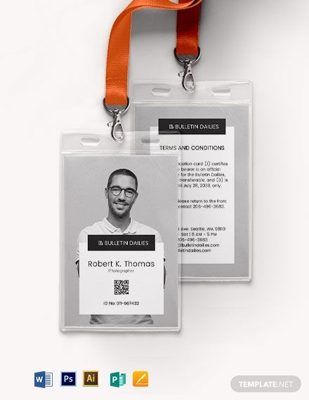 Portrait Id Card Template Free Pdf Word Psd Apple Pages Illustrator Publisher Id Card Template Identity Card Design Name Card Design