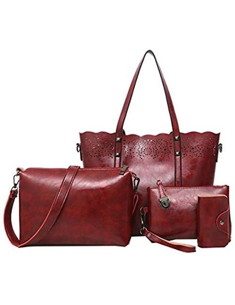 950c810be9a6 4 Pcs Women's Tote Bags Leather Handbags Top Handle Vintage Purse ...