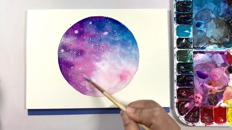 Step by step process for painting this beautiful dreamy moon in watercolor. Watercolor illustration. Watercolor. Watercolor moon. Moon art.