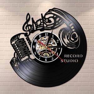 Music Notes Treble Clef Vinyl Record Wall Clock Music Art Vintage Clock Watch Rock N Roll Headset Microphone Wall Light