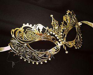 Laser Cut Venetian Mask Gold Masquerade Costume Ball Crystal Fancy Dress Prom | eBay