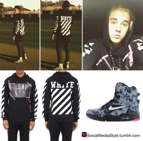ddd4a176fa58 Buy Justin Bieber s Off White C O Virgil Abloh Caravaggio Hoodie and Nike  Air Command Force Sneakers