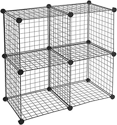 Amazon Com Amazonbasics 4 Cube Grid Wire Storage Shelves Black Home Kitchen In 2020 Cube Storage Wire Storage Shelves Cube Storage Shelves