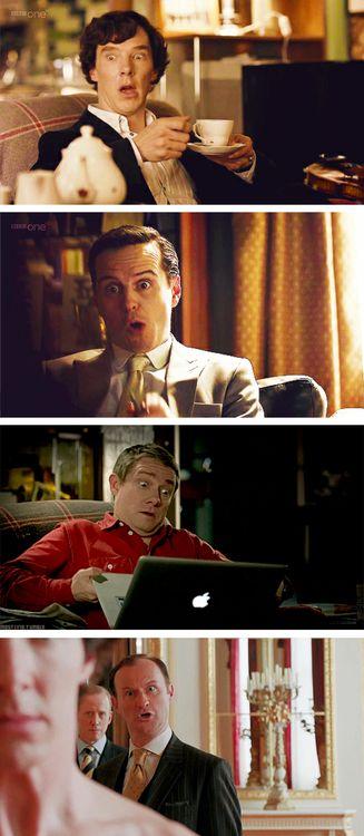 Benedict Cumberbatch (Sherlock Holmes), Andrew Scott (Jim Moriarty) and Martin Freeman (John Watson)