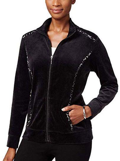 Karen Scott Womens Petites Velour Animal Print Sweatshirt Deep Black Printed Sweatshirts Jackets For Women Clothes