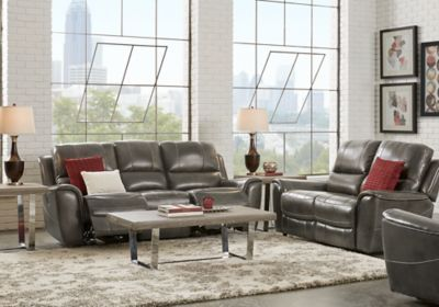 Admirable Lanzo Gray Leather 5 Pc Living Room With Reclining Sofa In Ibusinesslaw Wood Chair Design Ideas Ibusinesslaworg