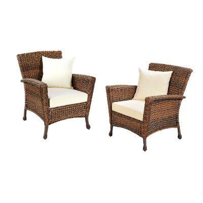 One Allium Way Ophelie Outdoor Faux Sea Grass Garden Patio Chair With Cushion Wayfair Wicker Outdoor Furniture Set Wicker Patio Set Patio Chairs