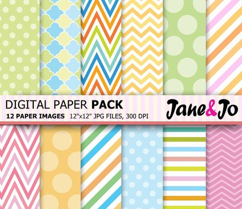 """""""Digital Paper ,Chevron, Polka Dot , Stripes Pattern Background , Sweet Pastel Rainbow digital papers Digital Scrapbook Paper,Instant Download * * * * * * * * * * * * * * * * * * * * * * BUY 2, GET 1 FREE! Purchase any 2 items and get a 3rd item of equal or lesser value free! Add all three items to your cart and use coupon code BUYME to redeem your offer. Please make sure that the discount has been applied before you proceed with your payment. Add three items to your cart and don't miss our coup"""