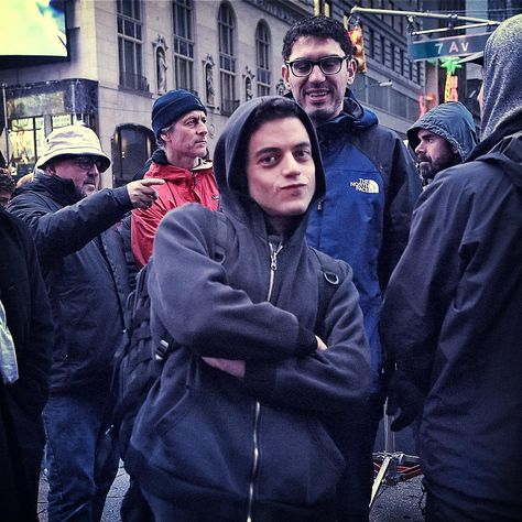 "On Set: Rami Malek is adorable as Elliot. ""Rami focuses a lot on his"
