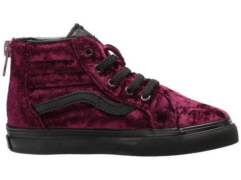 d2509ef68b Vans Kids Sk8-Hi Zip (Toddler) Girls Shoes (Velvet) Red Black