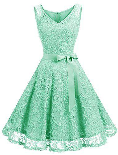 Dressystar Women Floral Lace Bridesmaid Party Dress Short Prom Dress V Neck XS Mint