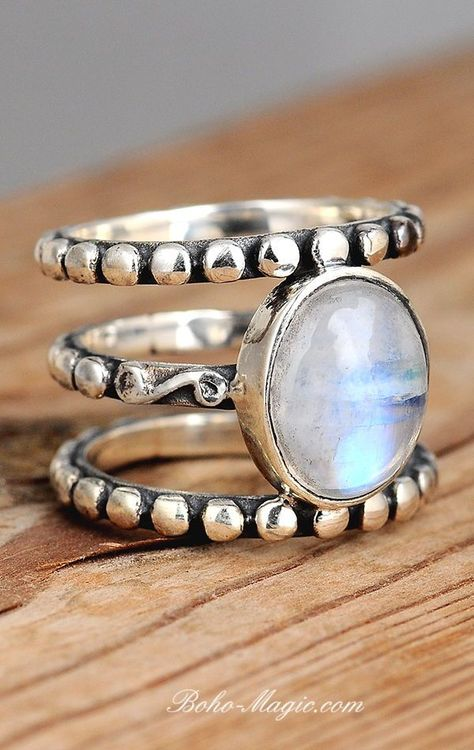 Jewelry Rainbow Moonstone Ring, Boho Sterling Silver Ring for Women, Statement Ring, Big Stone Gemstone, Bohemian Jewelry