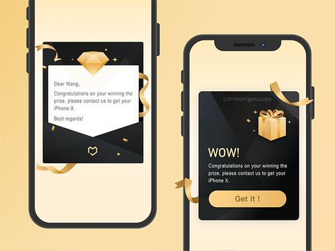 black&gold pop up for lottery draw