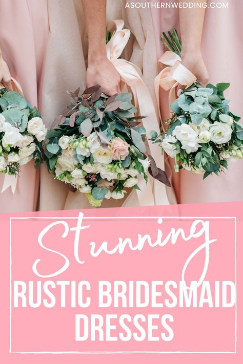 Gorgeous rustic bridesmaid dresses are just the addition your rustic wedding needs! No matter your style, budget or season, we have the perfect rustic bridesmaid dress ideas for you. #rusticbridesmaid #rusticbridesmaiddress #bridesmaiddress #rusticwedding #rusticweddingideas #bridesmaiddresses #bridalparty #bridalpartyinspo #bridesmaidinspo #rusticweddinginspo