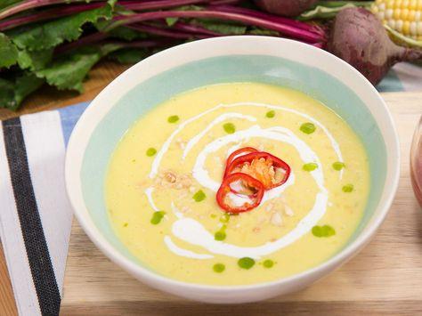 Sweet Corn Summer Gazpacho recipe from Jeff Mauro via Food Network