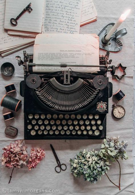Autumnal Flatlay With Vintage Typewriter - The Villa on Mount Pleasant - Autumnal Flatlay With Vintage Typewriter Source by sonyazombiee