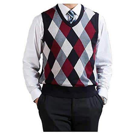 DD UP Mens V-Neck Argyle Pattern Sweater Vest Cardigan Knitted Waistcoat Tank Tops Gilet