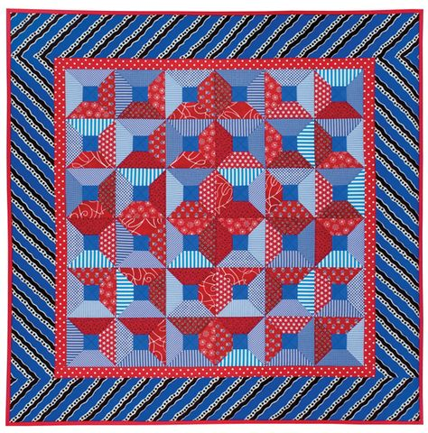 Attic Windows quilt, in: 'Quilts on the Double - Dozens of Easy Strip-Pieced Designs' by Judy Hooworth, Margaret Rolfe