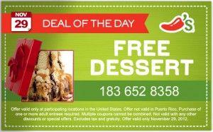 FREE Dessert At Chilis Today