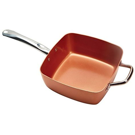 Copper Pan Reviews >> Copper Chef 4 Pc 9 5 Deep Square Pan Set 6 In 1 Chef Pan