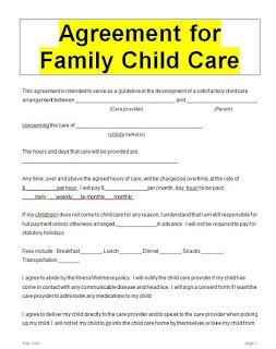 Child Care Contract Word Doc Family Child Care Daycare Contract Childcare