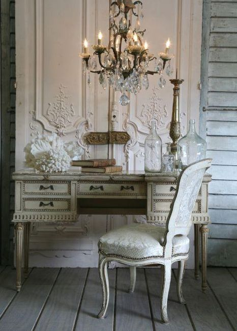 French chic- Chandelier in my new office is a must.