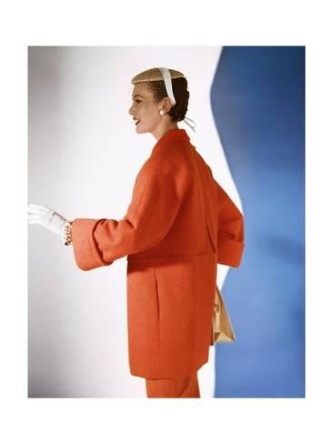 Premium Photographic Print: Model Wearing Pastel-Red Three Quarter Coat in Wool-And-Rabbit'S-Hair with Flat Straw Cap : 12x9in
