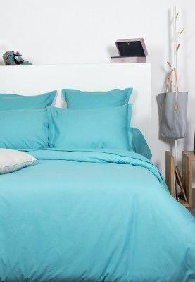 Déco chambre pastel - Parure de lit turquoise 100% coton #décoration ...